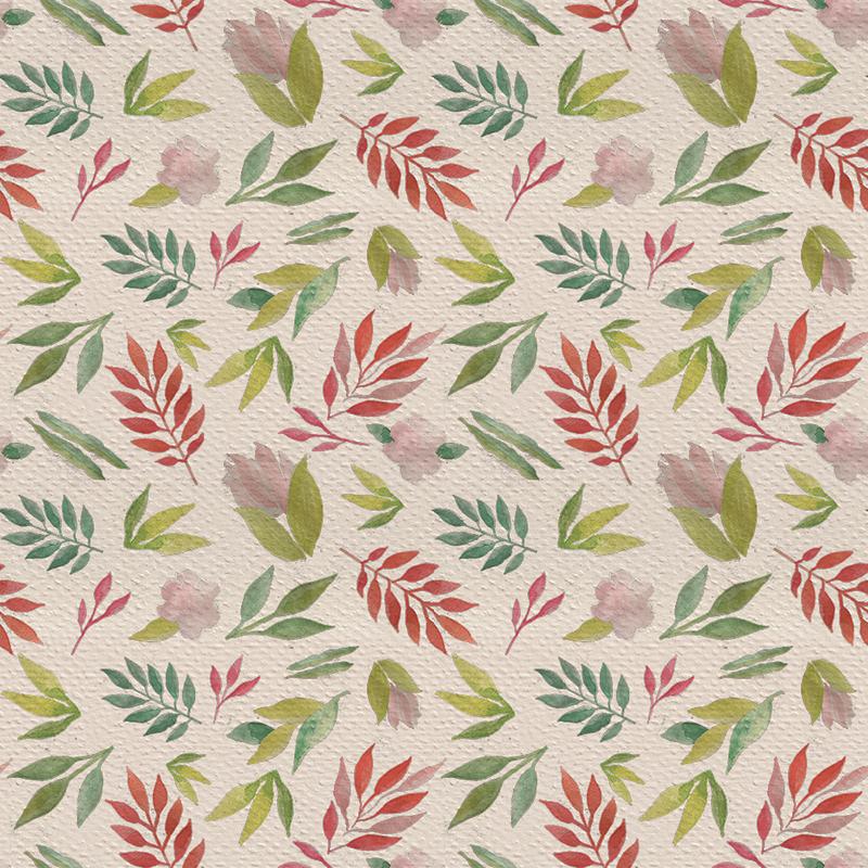 estampa con hojas y flores tonos calidos