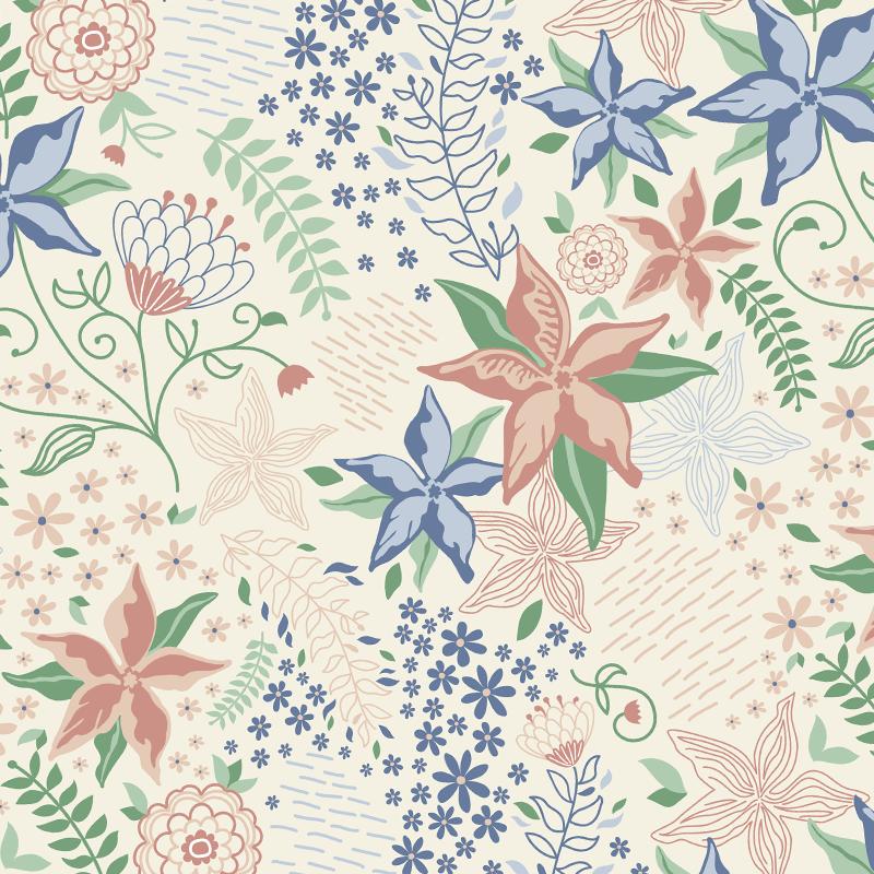 pattern flores primavera pastel