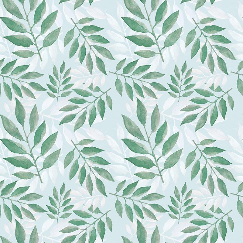 estampa hojas pattern leaves verdes y azul