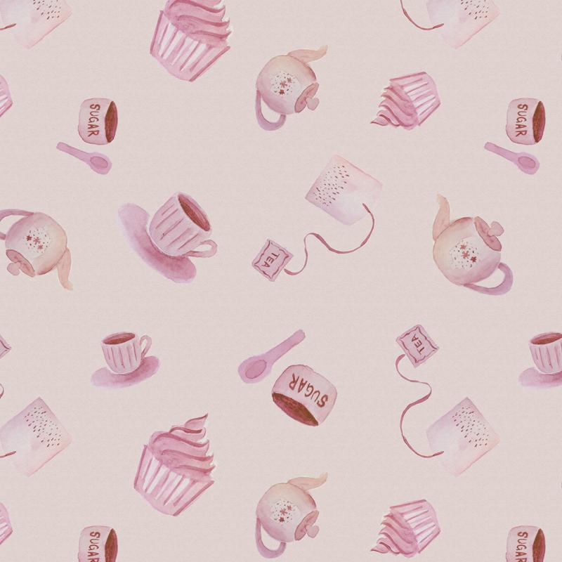 pattern rosa hora del te acuarelas