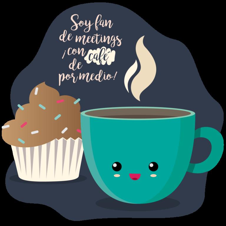 ilustracion cafe y cupcake